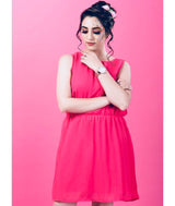 Solid Pink Pleated Dress,BUY2GET1