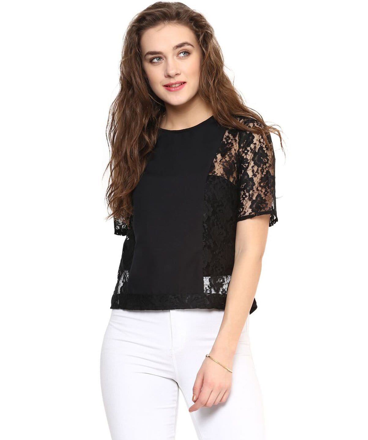 Solid Black Lace Crepe Top - Uptownie