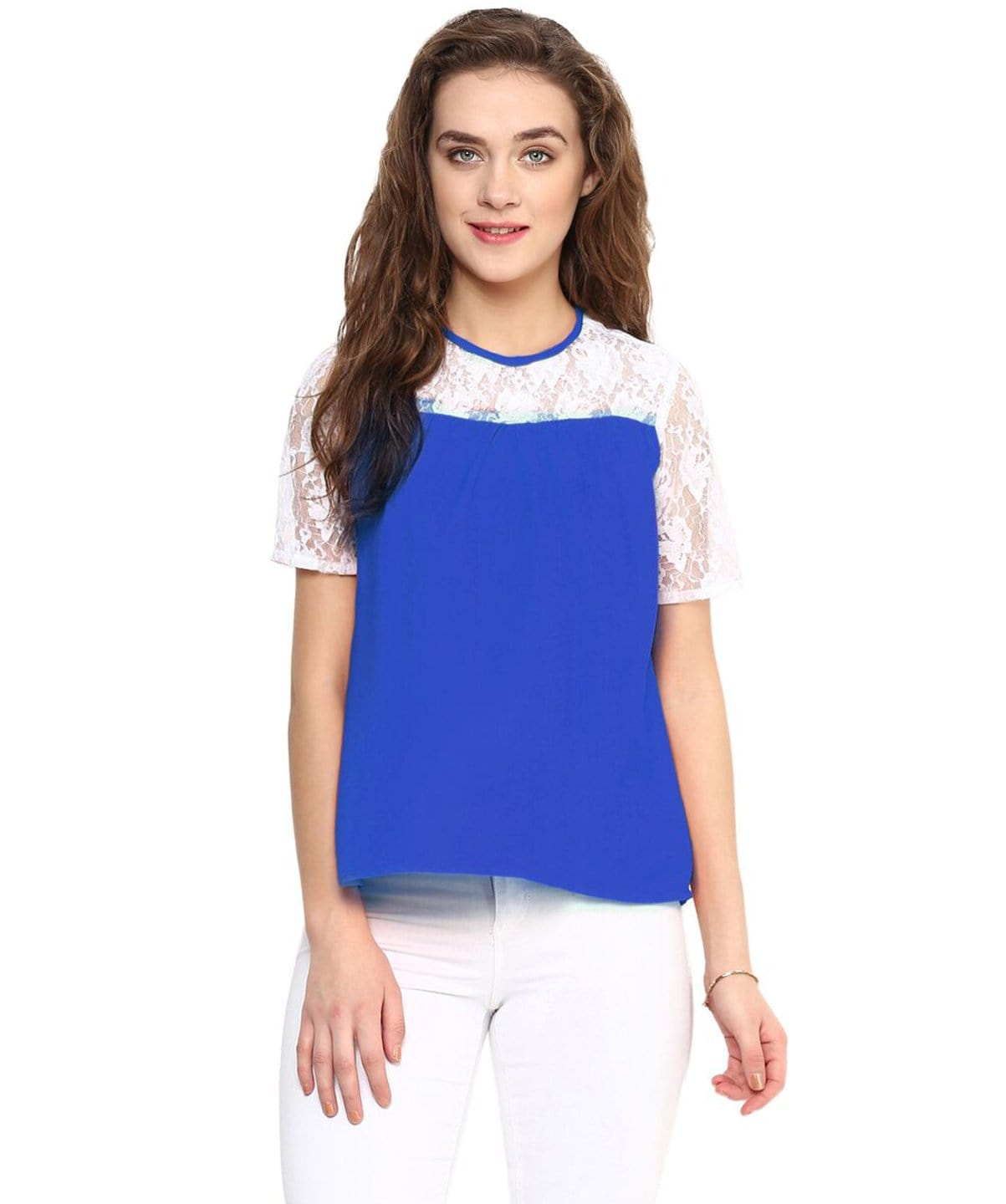 Solid Blue & White Lace Crepe Top - Uptownie
