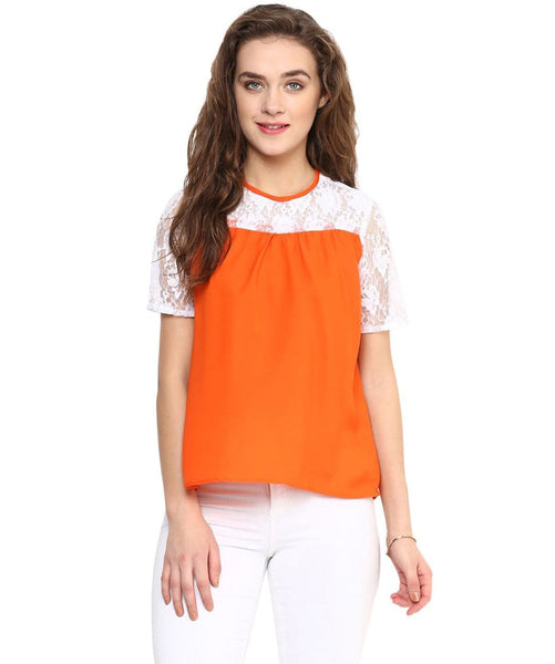 Solid Orange & White Lace Top - Uptownie