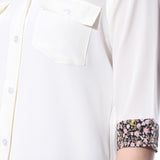 White Solid Button Down Crepe Shirt