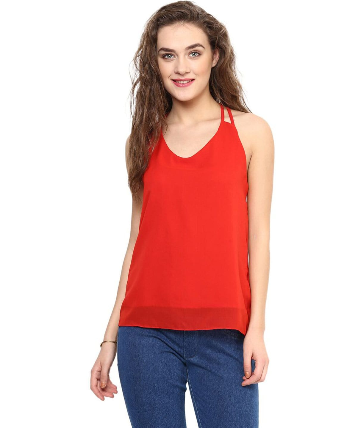 Solid Red Back Cutout Georgette Top - Uptownie