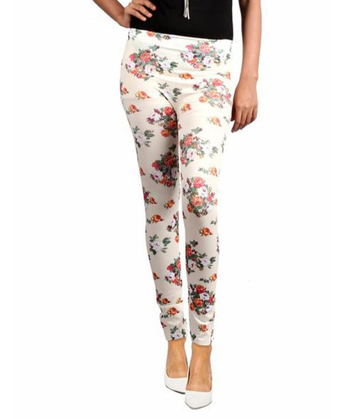 Cream Floral Leggings - Uptownie