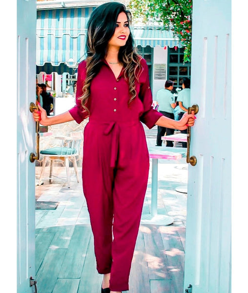 Maroon Roll Up Jumpsuit