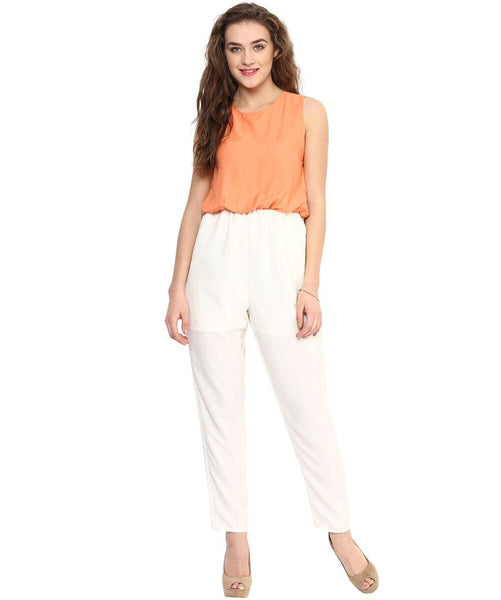 Orange White Solid Jumpsuit - Uptownie