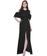 Ruffled Buttoned Cold Shoulder Black Maxi Dress - Uptownie