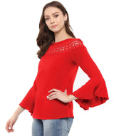 Red Solid Bell Sleeves Crepe Top With Lace Detail