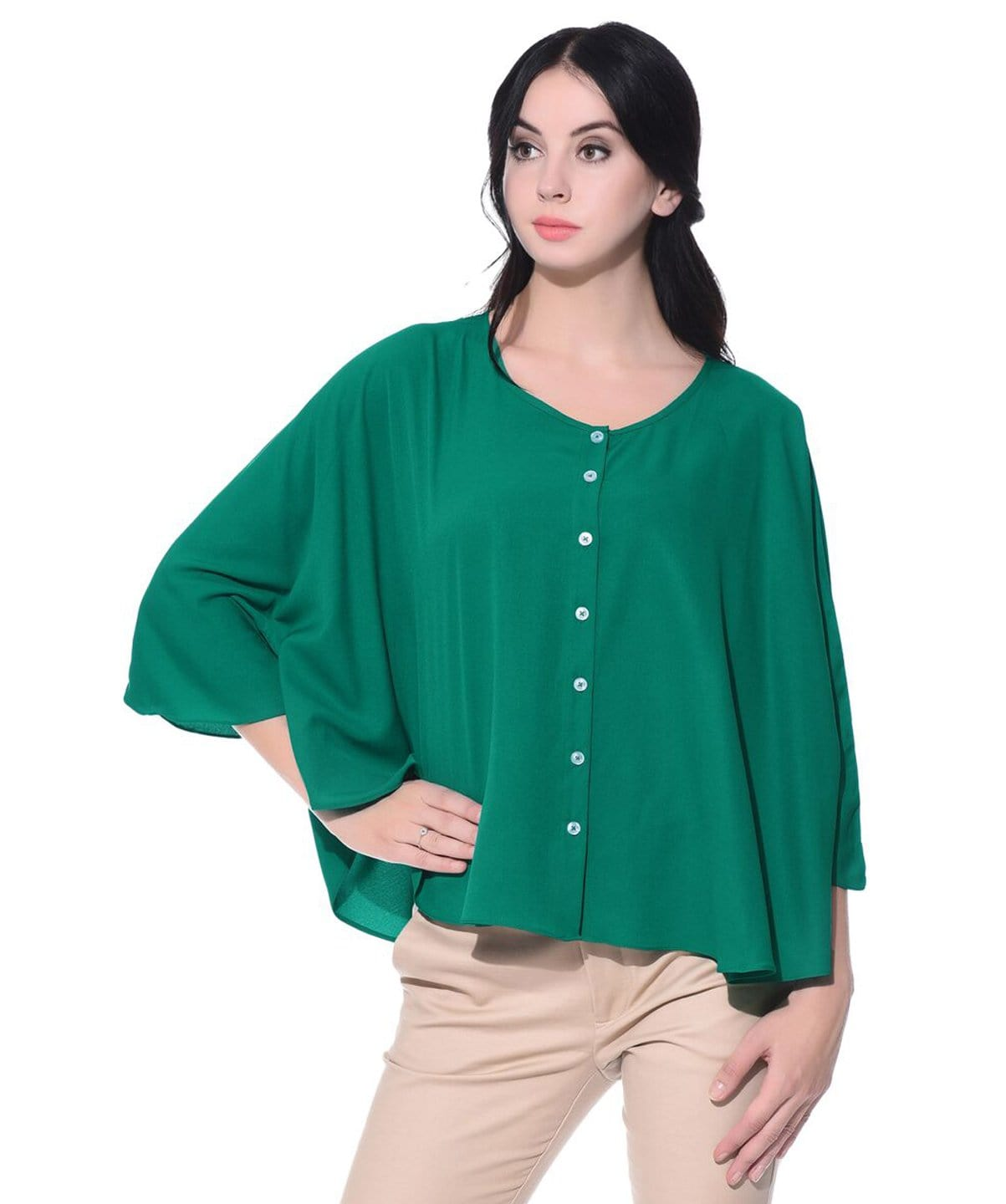 Solid Green Buttoned Crepe Cape Top - Uptownie