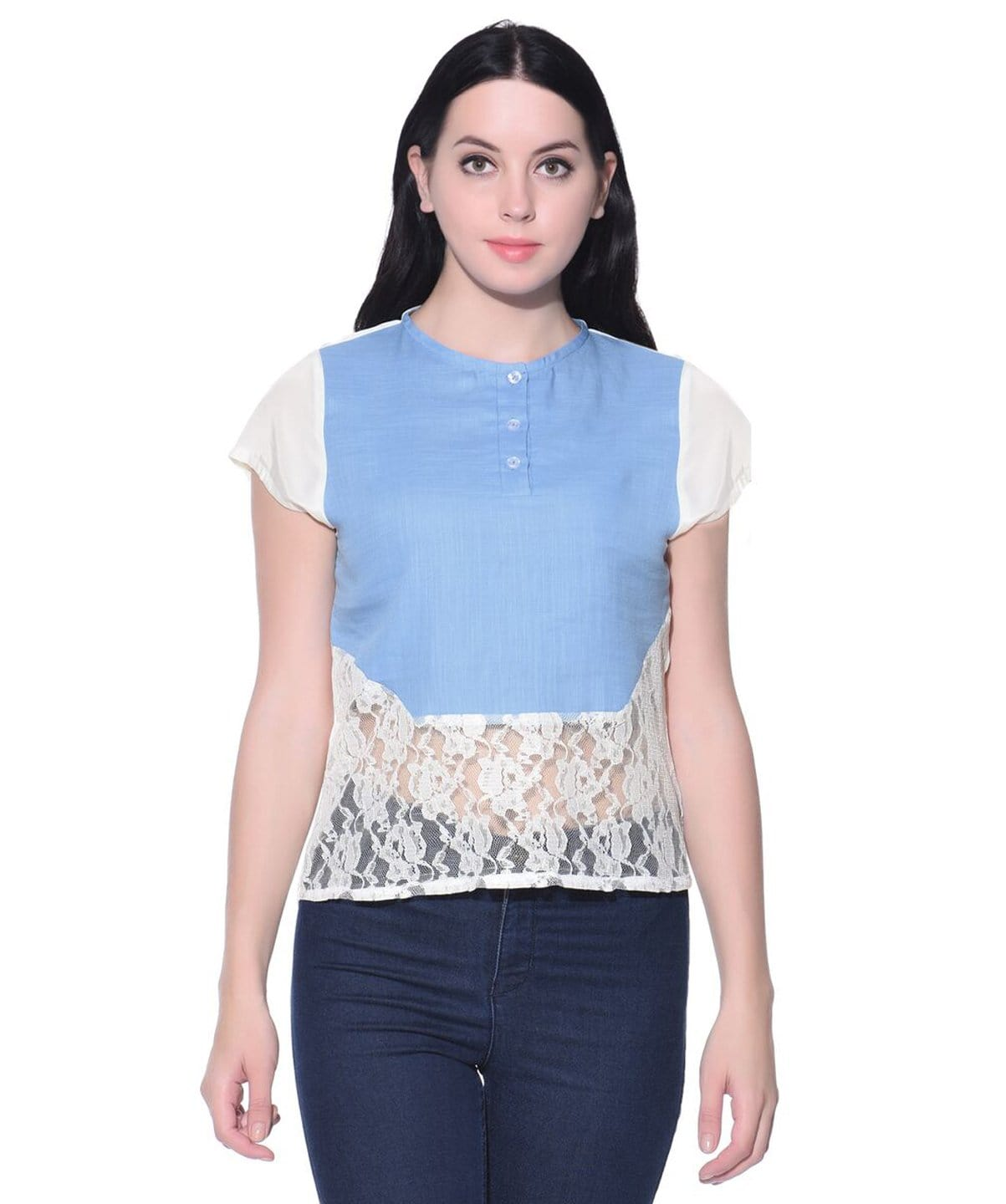 Solid Blue Lace Chambray and Lace Top - Uptownie