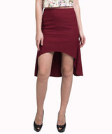 Maroon Hi-Low Pencil Skirt - Uptownie