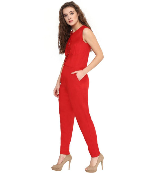 Solid Red Buttoned Jumpsuit - Uptownie