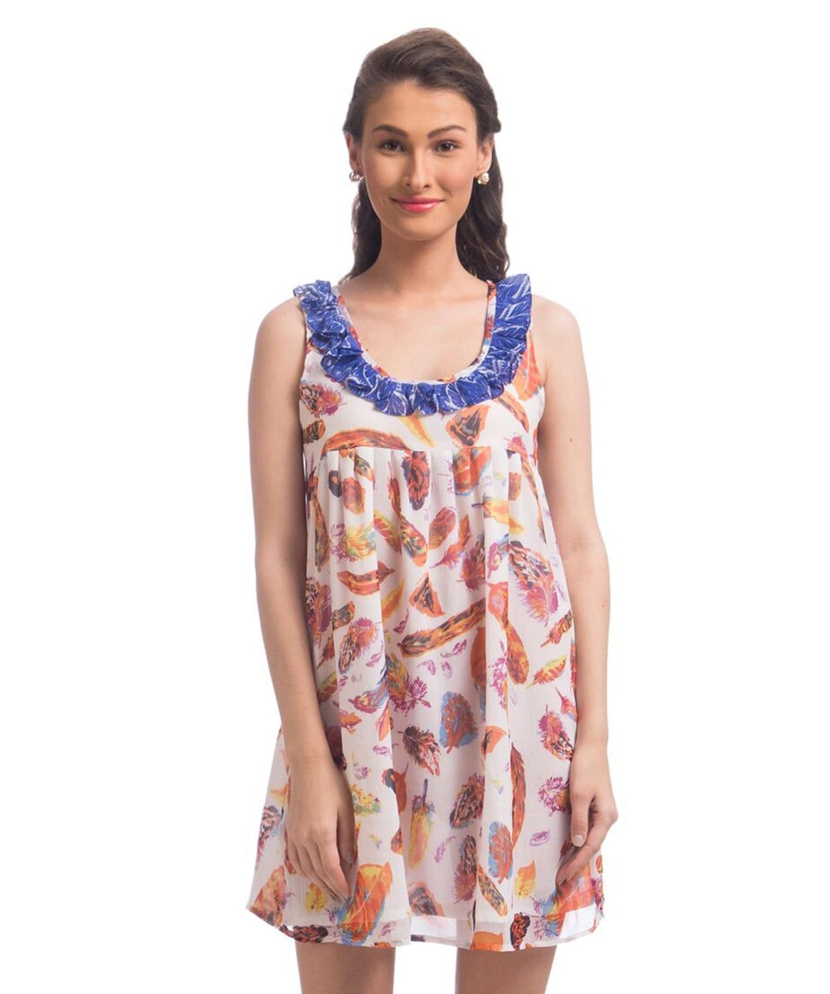 Printed White Ruffle Neck Chiffon Dress - Uptownie