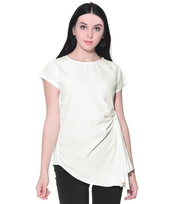Solid White Asymmetric Crepe Top - Uptownie