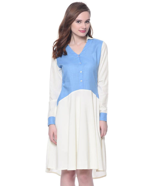 Printed White & Blue Solid Sleeves Shift Dress - Uptownie