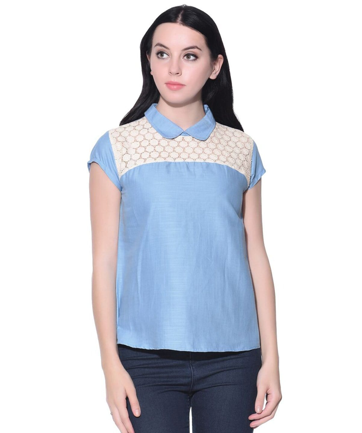 Solid Blue Lace Chambray Collared Top - Uptownie