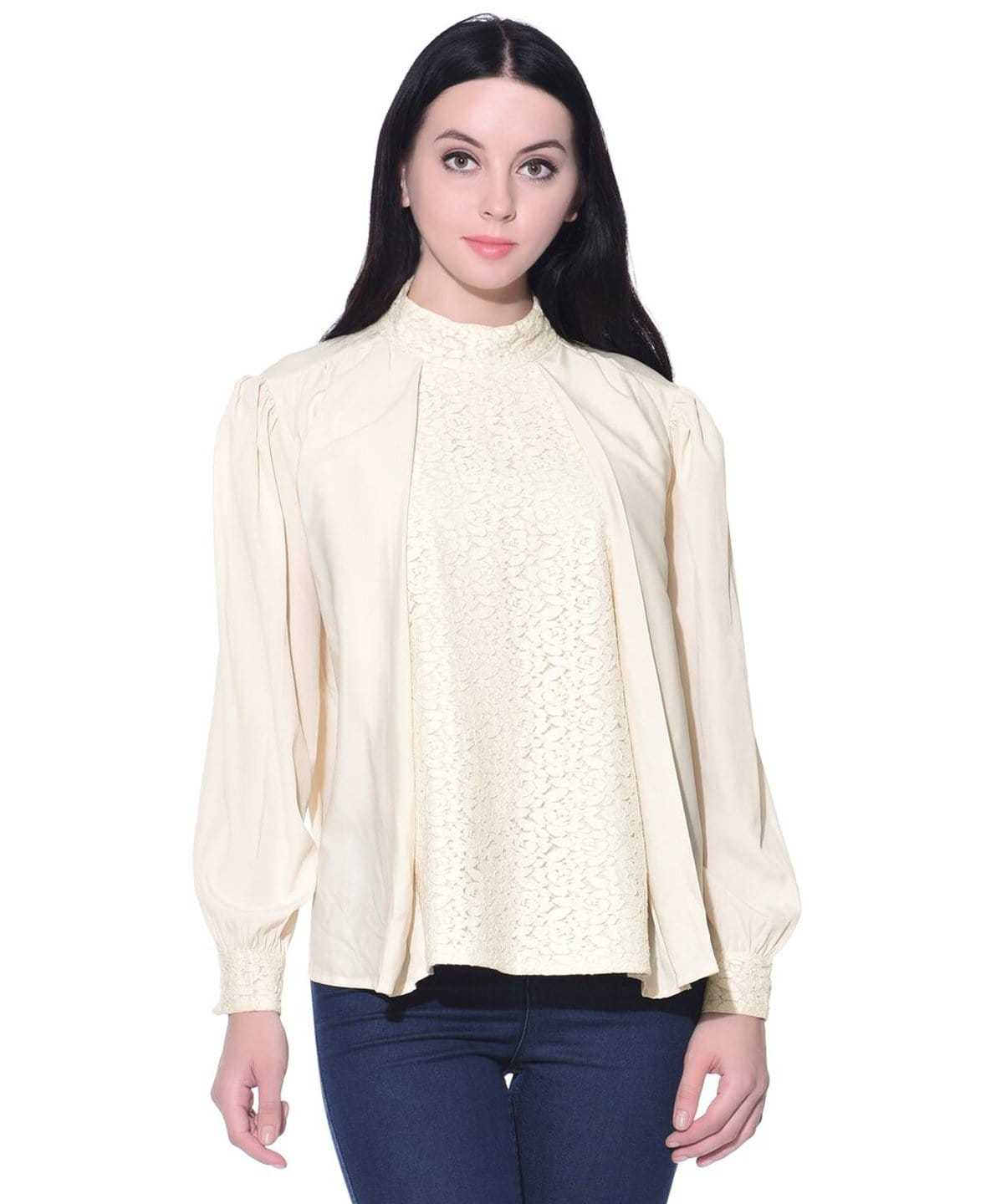 Uptownie Plus Solid White Long Sleeves Casual Crepe Lace Top. FLAT 200 OFF