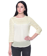 Solid White Crepe Lace Top - Uptownie