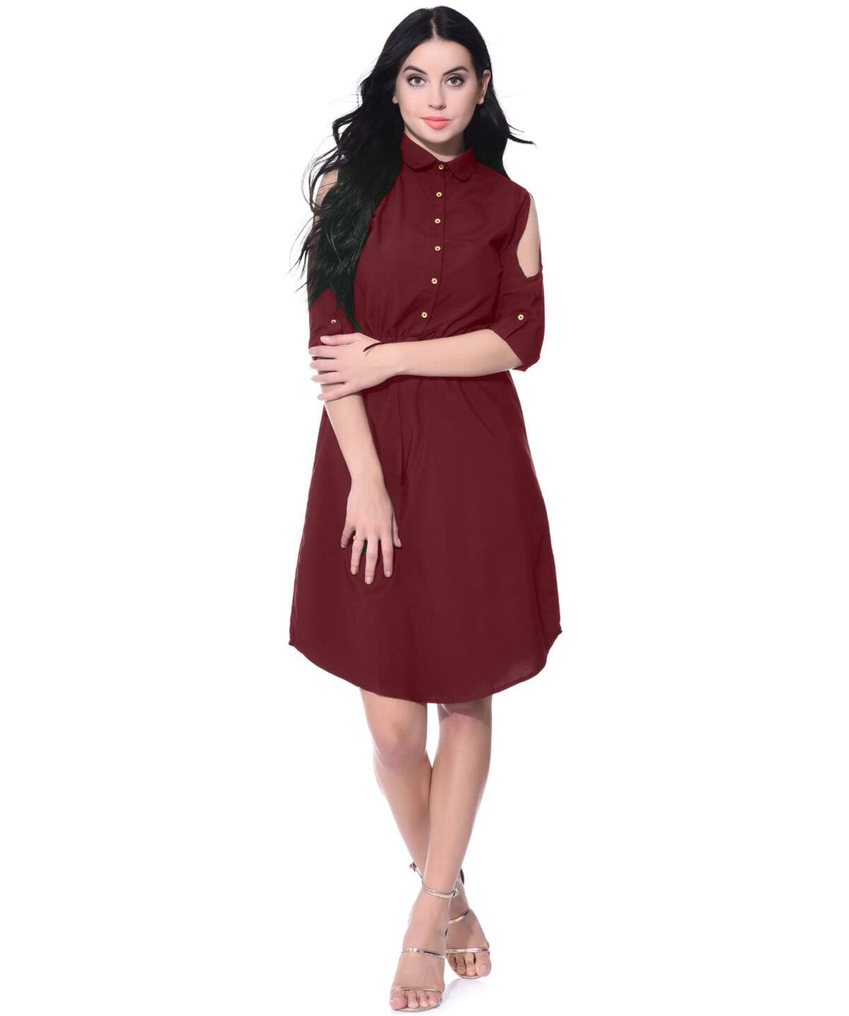 Solid Maroon Cold Shoulder Collared Dress - Uptownie
