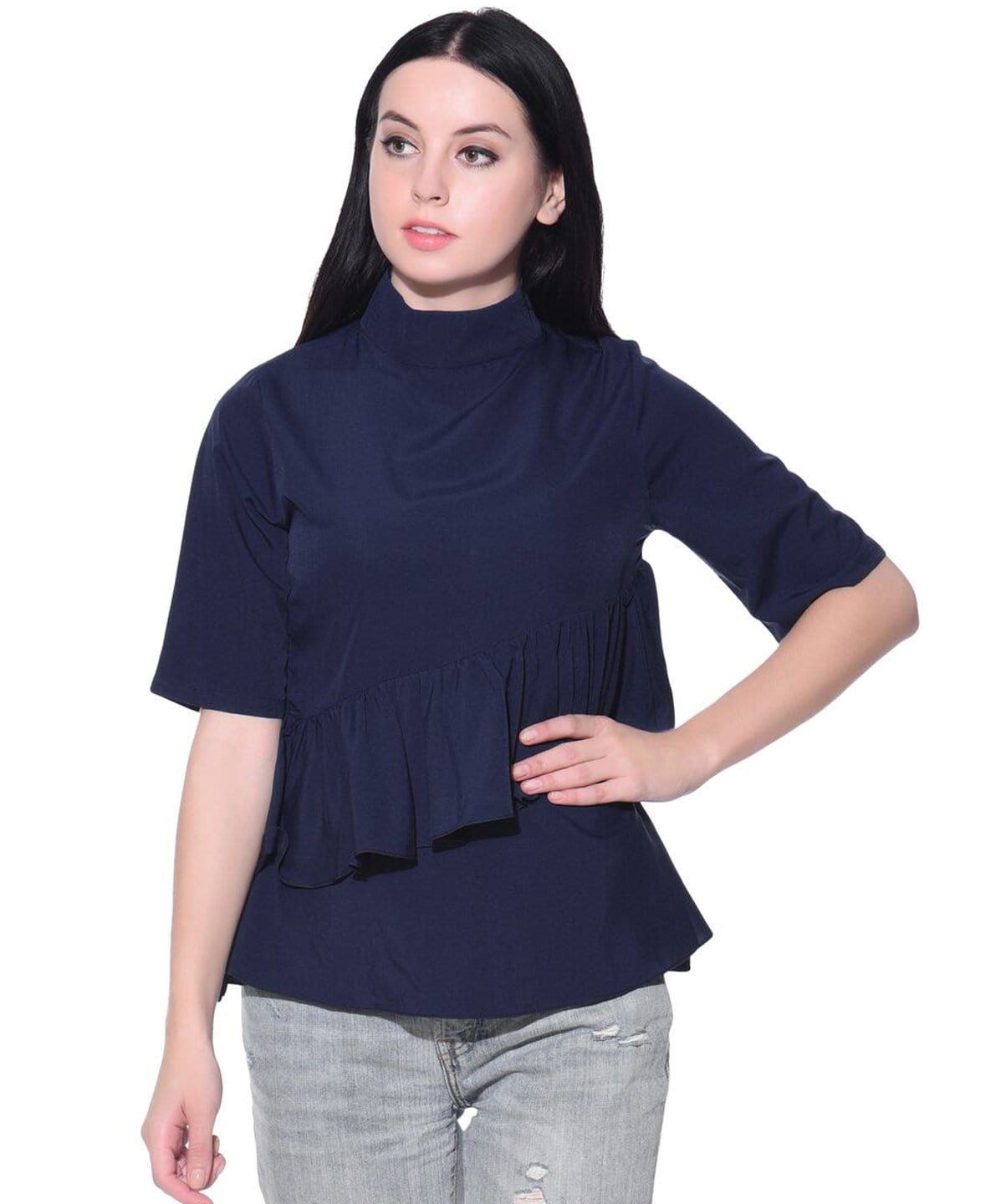 Solid Blue Flared Ruffled Crepe Top - Uptownie