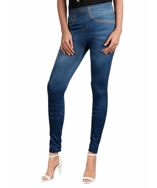 Blue Denim Legging Tights - Uptownie