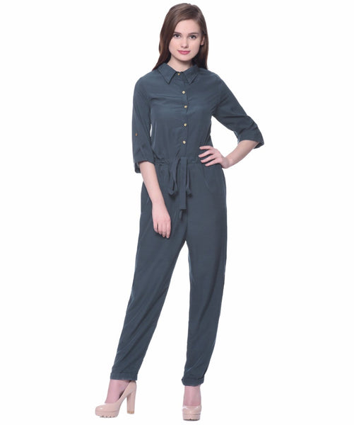 Grey Roll Up Jumpsuit - Uptownie