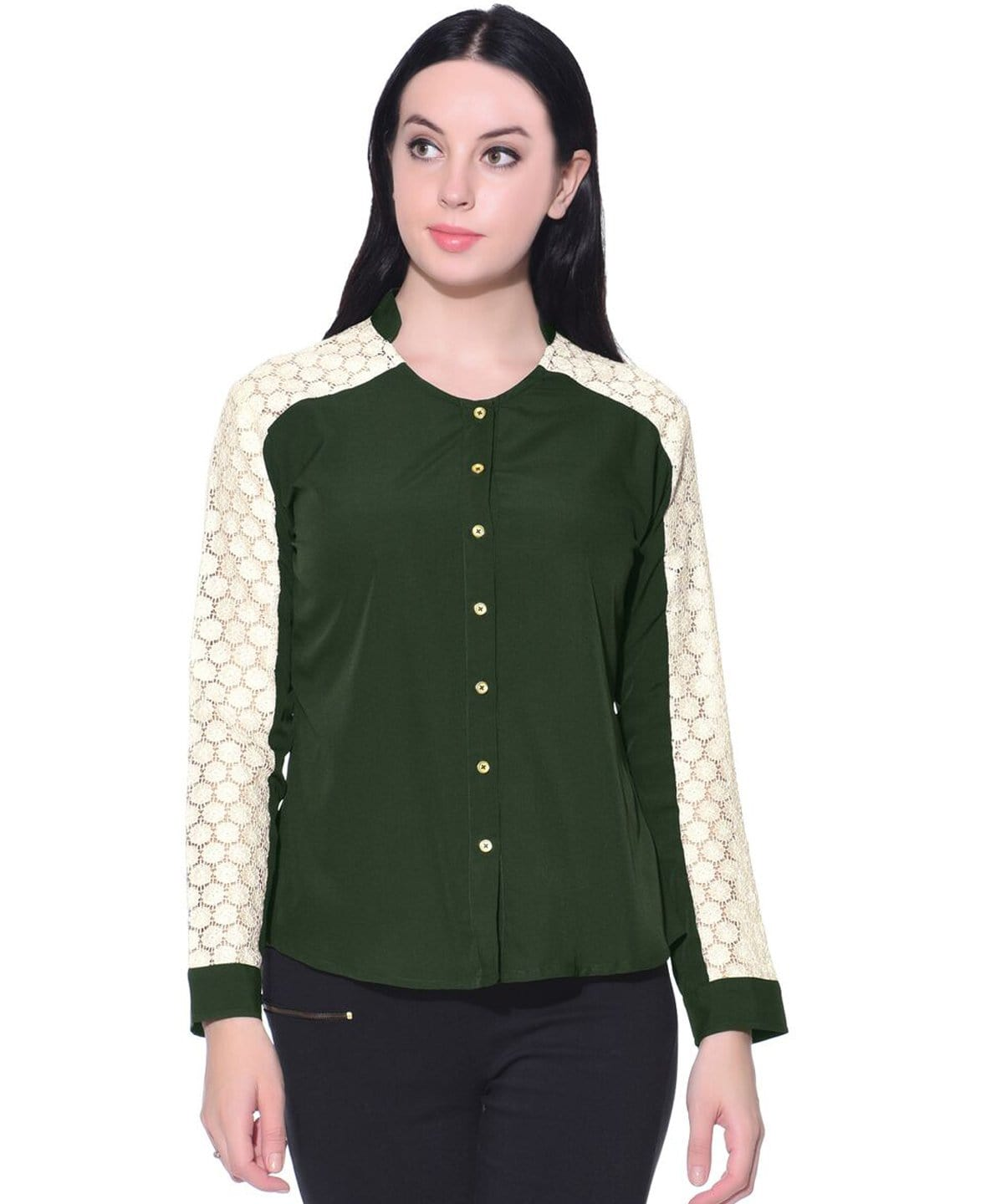 Solid Green Crepe Lace Button Down Shirt - Uptownie