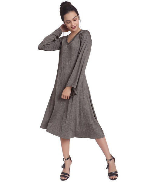 Solid Grey V Neck Knitted Dress - Uptownie
