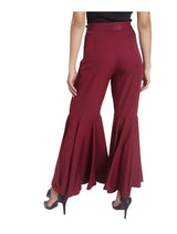 Solid Maroon Flared Adjustable Pants