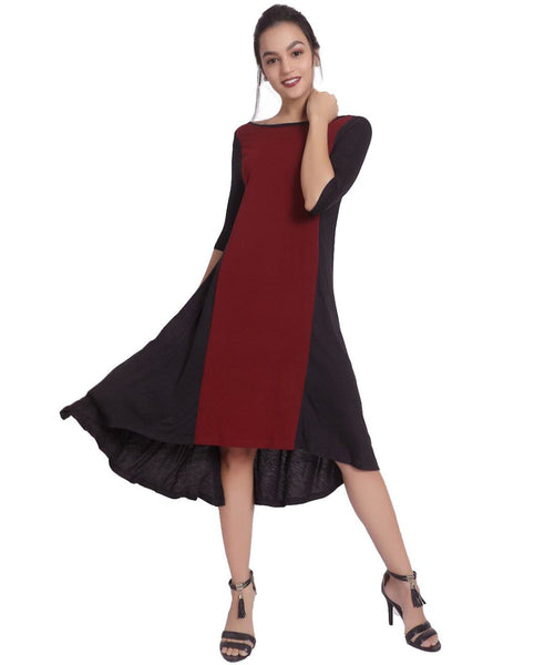 Solid Wine & Black Knitted Dress - Uptownie