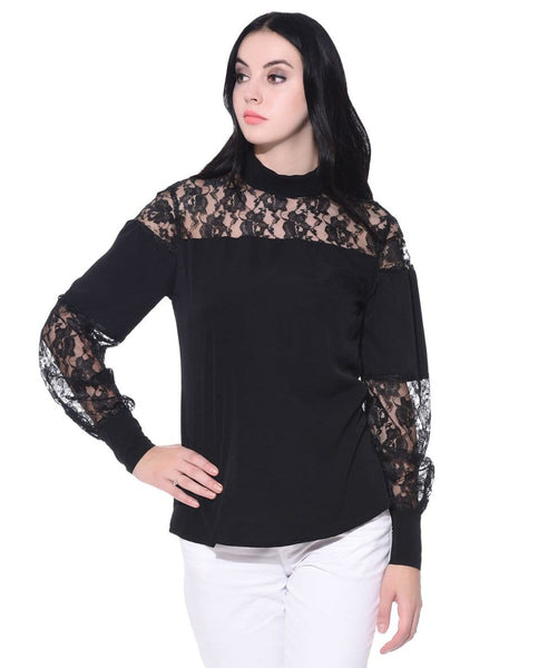 Solid Black Crepe Lace Long Sleeves Top - Uptownie