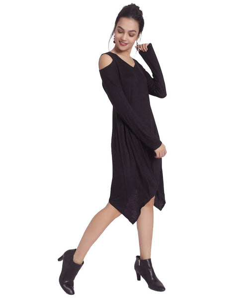 Solid Black Cold Shoulder Dress - Uptownie