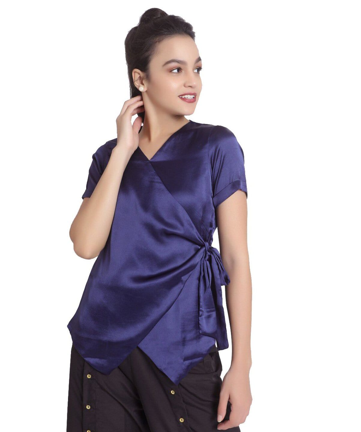 Solid Blue Satin Wrap Top. EXTRA 18% OFF