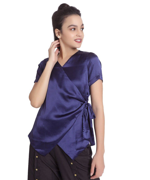Solid Blue Satin Wrap Top - Uptownie