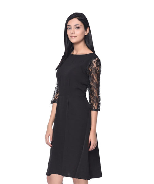 Solid Black Lace Skater Dress - Uptownie