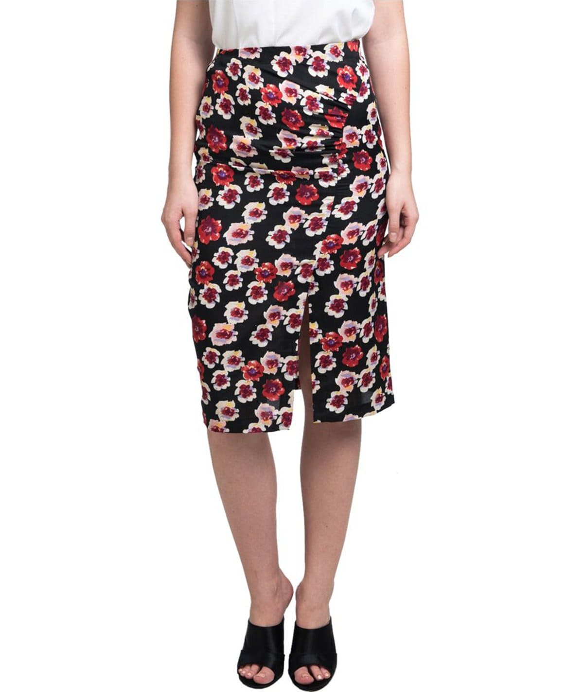 Black & Red Floral Print Pencil Skirt - Uptownie