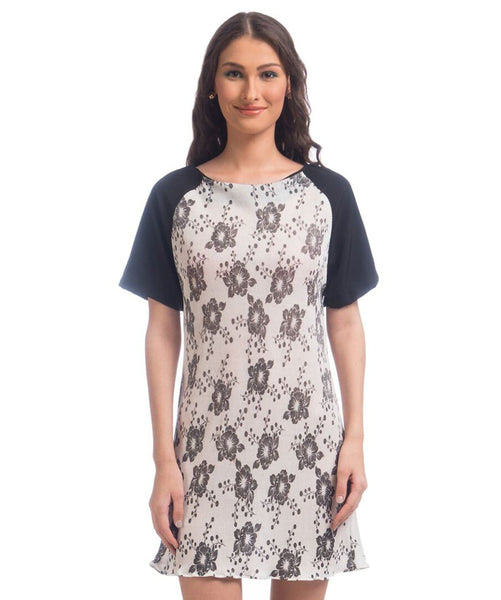 Printed White Solid Sleeves Shift Dress - Uptownie