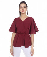 Uptownie Plus Maroon Peplum Bell Sleeves Top. BUY 3 GET 2