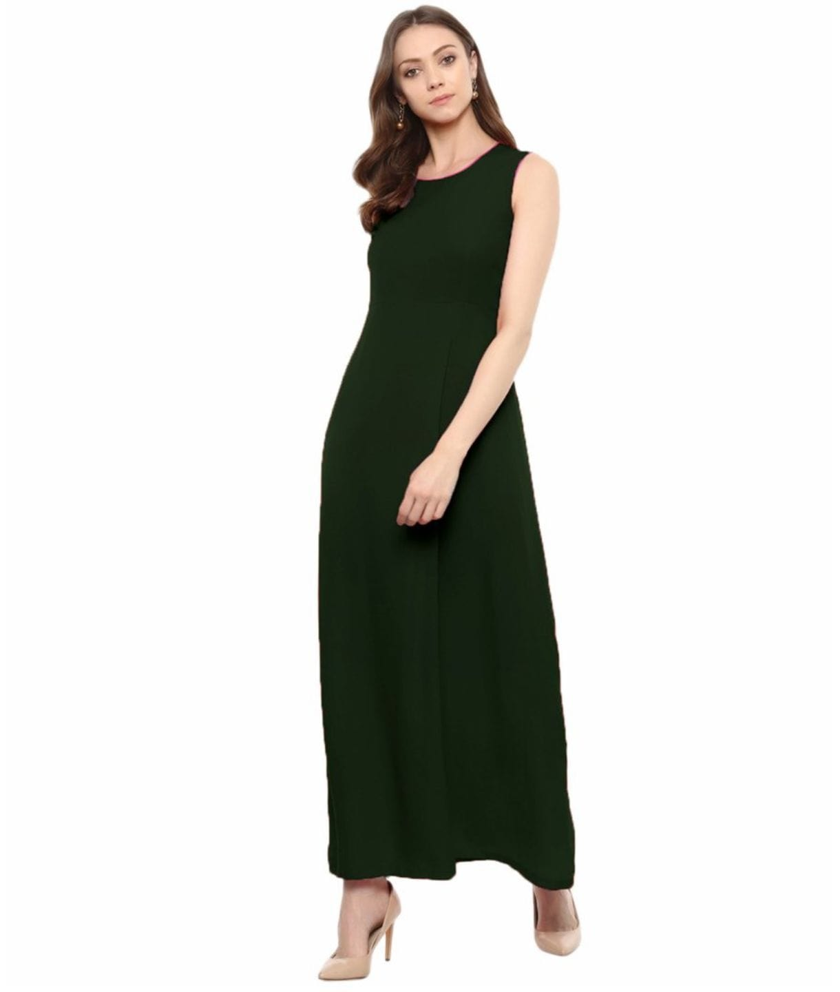 Army Green Solid Sleeveless Crepe Maxi Dress/Gown