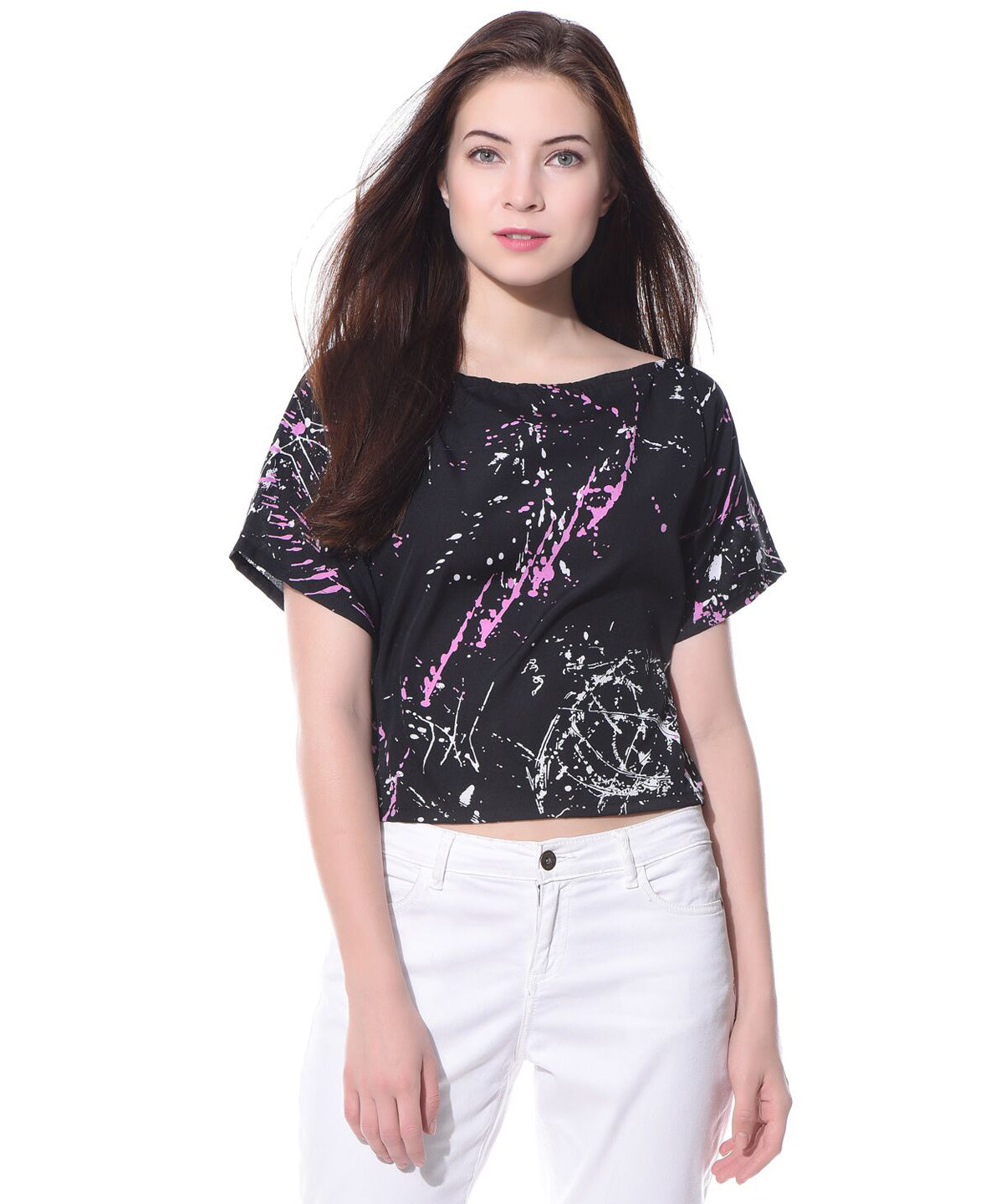 Printed Black Casual Boxy Crepe Top - Uptownie
