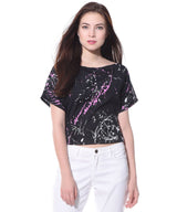 Uptownie Plus Printed Black Casual Boxy Crepe Top. FLAT 20% OFF