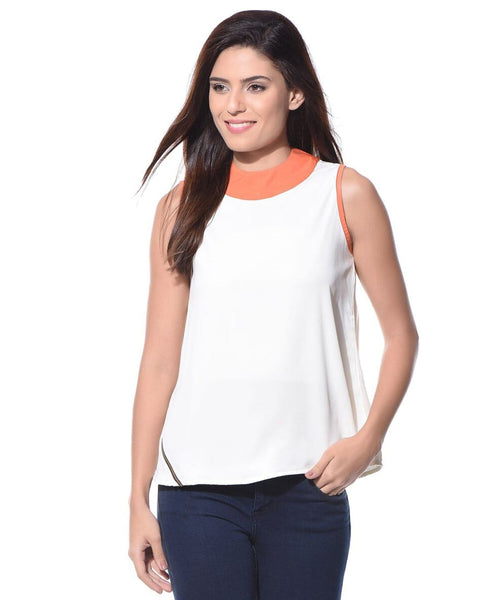 Solid White Sleeveless Crepe Top - Uptownie