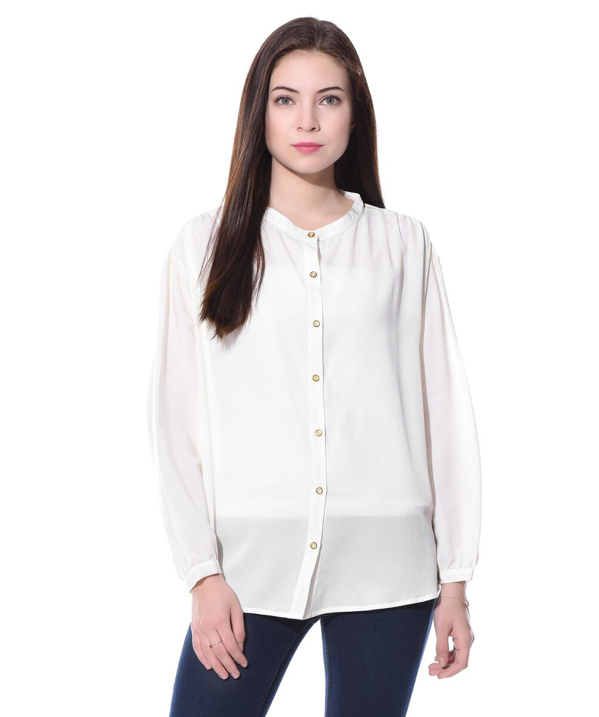 White Solid Full Sleeves Button Down Crepe Shirt - Uptownie