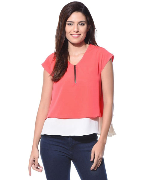 Solid Coral Casual Crepe Top - Uptownie