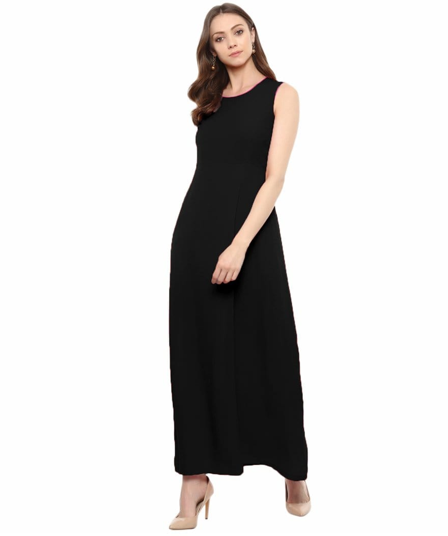 Black Solid Sleeveless Crepe Maxi Dress/Gown