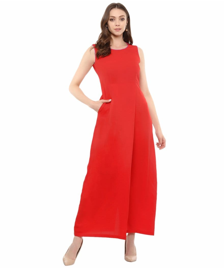 Red Solid Sleeveless Crepe Maxi Dress/Gown