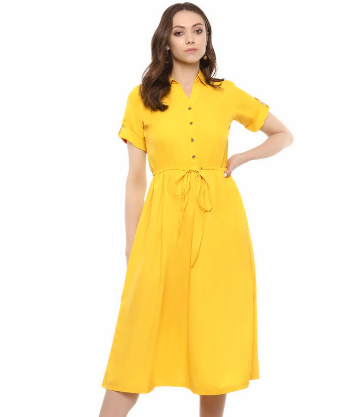 Yellow Solid Crepe Button Down Below Knee Maternity Dress
