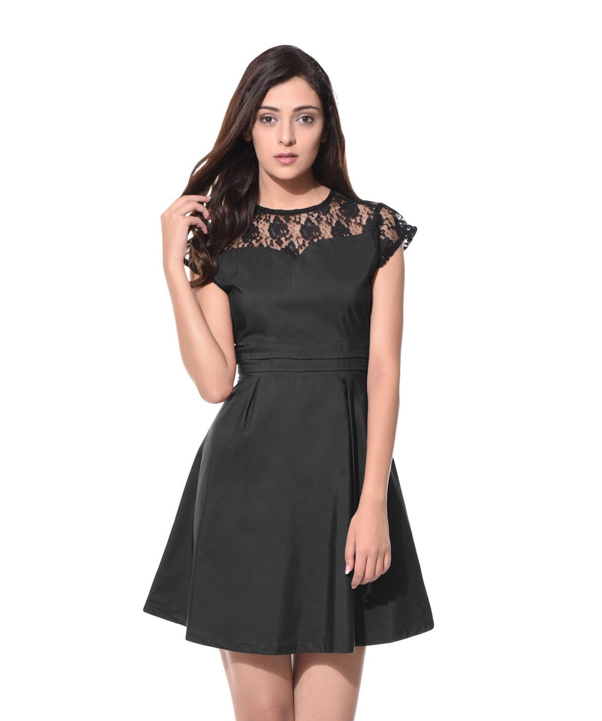 Solid Black Lace Neck Skater Dress - Uptownie