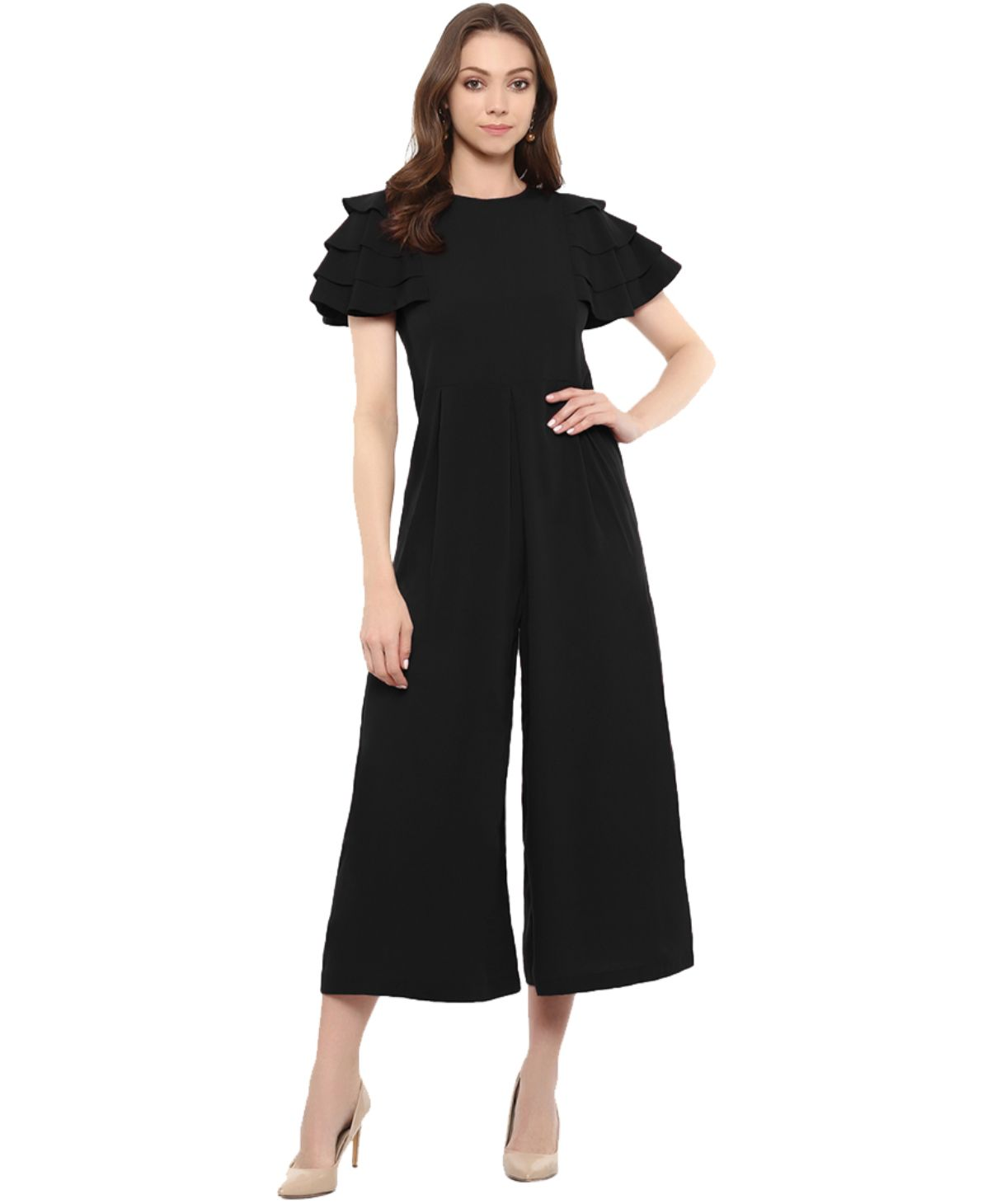 Uptownie Plus Black Solid Relaxed Fit Culotte Jumpsuit With Ruffled Sleeves