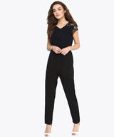 Black Polka Lace Detailed Jumpsuit - Uptownie