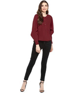 Maroon Solid Draped/Statement Sleeve Hi Low Top